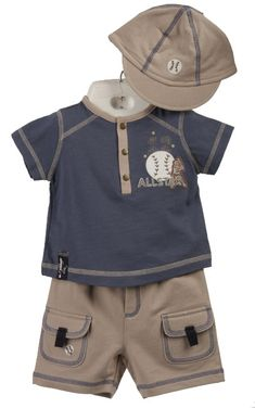 Minibasix Infant Boy's 3-piece 'Allstar' Baseball Clothing Set