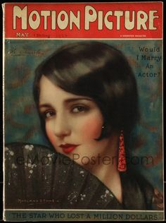 eMoviePoster.com: 9x304 MOTION PICTURE English magazine May 1926 cover art of Bebe Daniels by Marland Stone!