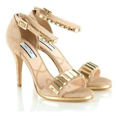 Lucy Choi Josepha Women's Studded Sandal ($200) ❤ liked on Polyvore featuring shoes, sandals, wide sandals, wide shoes, wide width sandals, wide width shoes and studded sandals