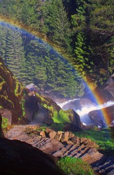 Misty Rainbow Trail between Vernal and Nevada Falls, over The Merced River  ~ Yosemite National Park, California