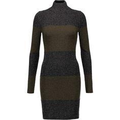 A.L.C. - Sharon Striped Metallic Wool-blend Mini Dress ($200) ❤ liked on Polyvore featuring dresses, black, stripe dresses, metallic dress, slip on dress, striped dress and mini dress
