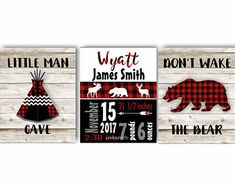 Baby Boy Bear Nursery / Red Black Lodge Nursery / Boy Woodland Art / Birth Statistics / Bear / Buffalo Plaid Nursery, Choose Colors LO4720