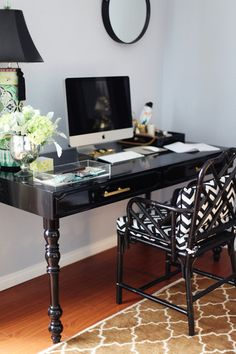 home office black desk. Office Chair - Cane With Custom Pillows On Life\u0027s Little Jems  Glitter Guide: A Shopping List. Chic Black Glossy Writing Desk Home