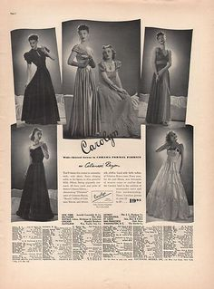 Beautiful evening dresses, 1938, fashion catalog