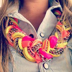 Instagram photo by @sagdp (sagdp) | Statigram #NEON #necklace by @Ela Design #dominican #handmade #Monday #jeanshirt #necklace