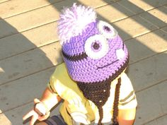 Items similar to Despicable Me Evil Minion Purple Minion Crochet Beanie on Etsy Crochet Funny Hat, Crochet Beanie, Crochet Yarn, Hat Patterns, Knitting Patterns, Crochet Ideas, Crochet Projects, Crochet Minions, Minion Pattern