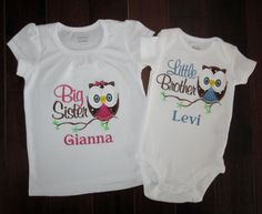 Owl big sister/little brother set with personalization or any big/little combo - choose shirt or bodysuit and short or long sleeve