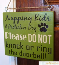 """Do you have a sticky note on your front door requesting visitors not to knock but doesn't seem to get noticed? Or does your UPS person ring the bell when they drop something off? Well this sign will clearly let visitors know what you need and makes a great gift Baby Shower gift or gift for new parents too. DESCRIPTION: The sign measures approximately 7"""" Tall by 7"""" Wide. (ribbon not included) The board is hand painted and the text is a high performance vinyl that will not peel. 2 Eyelet hooks…"""