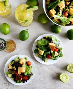 Black bean cornbread (croutons) salad with lime vinaigrette. I can't wait for the first warm day of this year so I can make this and a margarita, and enjoy it on my front porch!