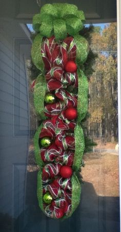 Large Christmas Swag in plaid deco mesh