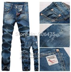 fashion DSQ brand men's jeans casual washed denim worn straight skinny men's D2 jeans cheap free shipping Price: US $46.55