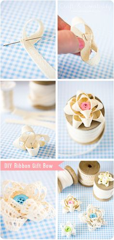 Fabric gift bows with a little button. Use it as a brooch or even hair accessory! :)