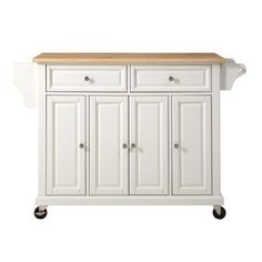 Crosley 52 in. Natural Wood Top Kitchen Island Cart in White