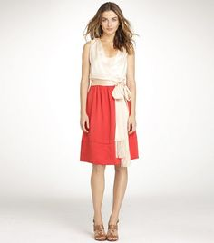 Tory Burch - Darya Dress, Milk Opal/Red Volcano/Tea Stain