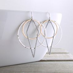 Geometric Earrings Dangle Earrings Modern Jewelry Mixed Metal Earrings Black Gold Dangle Earrings Trendy Earrings Holiday Gift For Her by RhondaLynneJewelry on Etsy https://www.etsy.com/listing/476724734/geometric-earrings-dangle-earrings