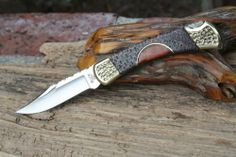 Buck 110 with Fossil Coral Handle by Cameron Custom Leather Sheath File Work | eBay