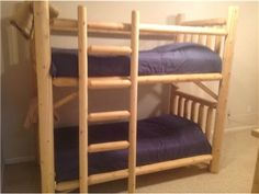 Rocky Top Twin Pine Log Bunk Beds with Ladder. Mattresses available with purchase!