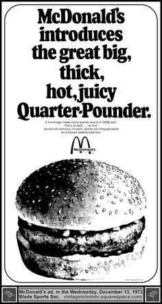 Vintage Toledo TV - Other Vintage Print Ads - McDonald's introduces the ...Quarter-Pounder (Wed 12/13/72 ad)