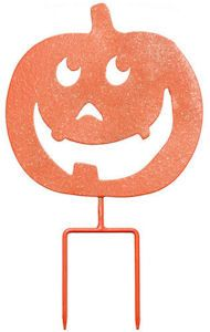 Happy Pumpkin Sign and Yard Decoration. Free Ground Shipping.  Greet your Halloween guests with a Happy Pumpkin Sign and Yard Decoration. Just stick stake in yard and you have a funky Halloween Yard decoration that can be enjoyed for years to come. And has a hook on the back so it can be hung from a wall. $15.99.