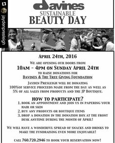 #Repost @jaydenpresleigh with @repostapp  APRIL IS SUSTAINABLE BEAUTY MONTH!  Help us help the planet! We are working to raise money to help @davinesofficial and @fruittreeplantingfoundation plant trees through El Salvador & Uganda this year!  Sunday April 24th 10am-4pm we are donating 100% of our services proceeds & 5% of our product sales.  Call to book your reservation today 760.720.2946 salon  1. We will be having snacks & drinks  2. Hourly raffles 3. Silent Auctions  Bring your friends…