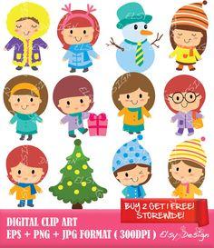 Winter Kids Digital Clip Art Instant Download by ElsyDesign