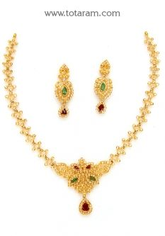 Buy 22K Gold Necklace & Drop Earrings Set with Uncut Diamonds,Rubies,Emeralds - DS685 with a list price of $2,231.99 - 22K Indian Gold Jewelry from Totaram Jewelers
