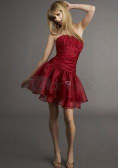 evening dresses short 2014 a-line strapless ruffles short/mini glamorous natural red chiffon celebrity dresses Short Red Prom Dresses, Red Homecoming Dresses, Grad Dresses, Cute Dresses, Beautiful Dresses, Evening Dresses, Bridesmaid Dresses, Short Prom, Dresses Dresses