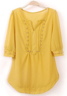 #Yellow Rivet Irregular V-neck Half Sleeve Chiffon #Blouse