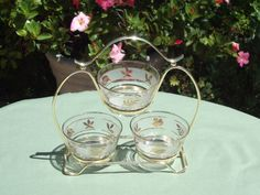 Condiment Server 3 Bowls with Caddy Libby by RamblinRanch on Etsy, $20.00