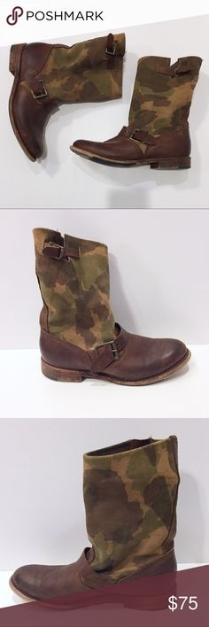 Vintage camo suede / leather boots Vintage boots with camo print shaft. Meant to look worn and distressed. Size 7, fit like a normal 7. Vintage Shoes Combat & Moto Boots