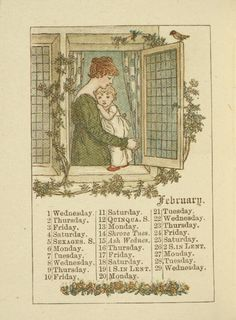 February - Kate Greenaway's Almanack for 1888