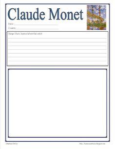 FREE Monet #artist studies notebook page