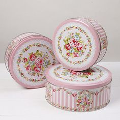 Large #floral #pink/white set 3 cake tins #storage vintage tea shop party baking ,  View more on the LINK: http://www.zeppy.io/product/gb/2/221765445017/