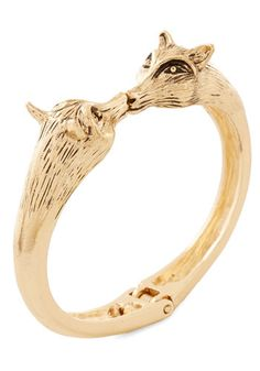 Be the Forest to Know Bracelet. With this gold bracelets nuzzling foxes hugging your wrist, youre savvy, timeless, and hip style is evident.  #modcloth