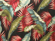 Tropical Hawaiian Cotton Barkcloth Fabric SHOWER CURTAIN ~Banana Leaves-Black~ | eBay