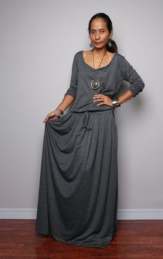 Plus Size Maxi Dress - Long Sleeve Top Grey dress   Autumn Thrills  Collection No. 33f7d9999862