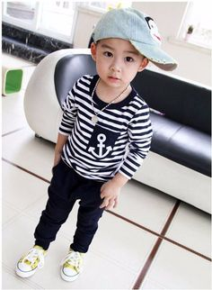 Spring Kids Clothes, Navy Long Sleeve Pullover Striped Sports Suit, Hot Sale New 2016 Casual Boys Clothing Set - Ali Style Ali Style