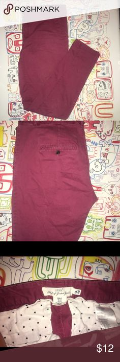 Burgundy Chinos Burgundy Chinos with a stretch. Very comfortable. Used in good condition. Skinny leg. H&M Pants