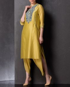 Ochre Yellow Tunic with Embroidered Yoke - AM:PM - Designers