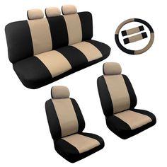 Unique Tan/Black Two Tone Car Seat Covers Steering Wheel Set 14pc For Kia Rio (Color), Multi