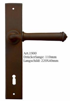 Langschildgarnitur Antik Eisen von Galbusera. Classic Wrought Iron door Handle.
