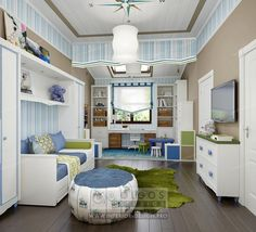 Nursery with blue accents