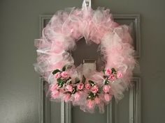 Dollar Tree pink rose Wreath