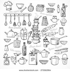 """Big set of kitchen sketch utensils hand-drawn with ink on white background.  Cups, teapots, pots. bottles. chopping boards ets.  Contains inscription """"Bon appetit"""" in different languages."""