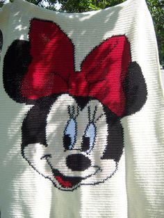 Minnie Mouse Crocheted Blanket  54 x 68 inches  by 1craftygrandma