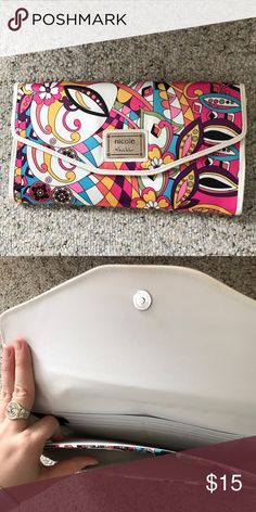 Abstract Colorful Clutch Nicole by Nicole Miller abstract colorful clutch. Clean white inside, zipper pocket on back. Nicole by Nicole Miller Bags Clutches & Wristlets