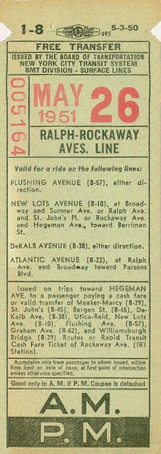 Streetcar transfer issued by Brooklyn division, New York City Transit System (1951)