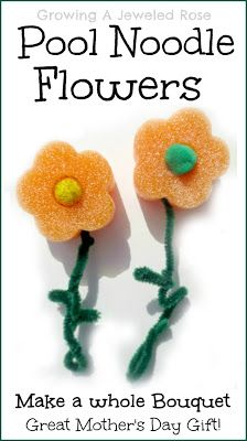 pool noodle flowers with Pom Pom middles