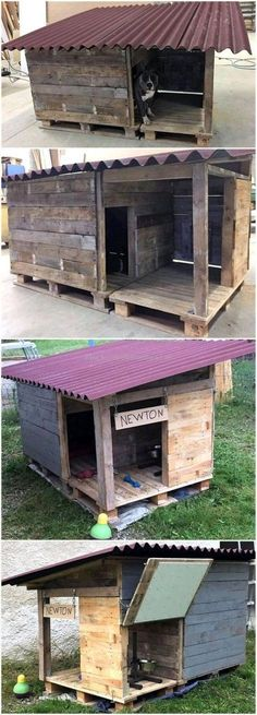 Amazing Dog Houses Made With Upcycled Wood Pallets Hundehütten Mit Upcycled Holzpaletten Pallet Dog House, Wooden Dog House, Build A Dog House, Dog House Plans, House Dog, Large Dog House, Wooden Dog Kennels, Diy Dog Kennel, Kennel Ideas