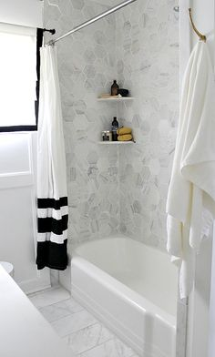 Carrara Large Hexagon Tile in Shower